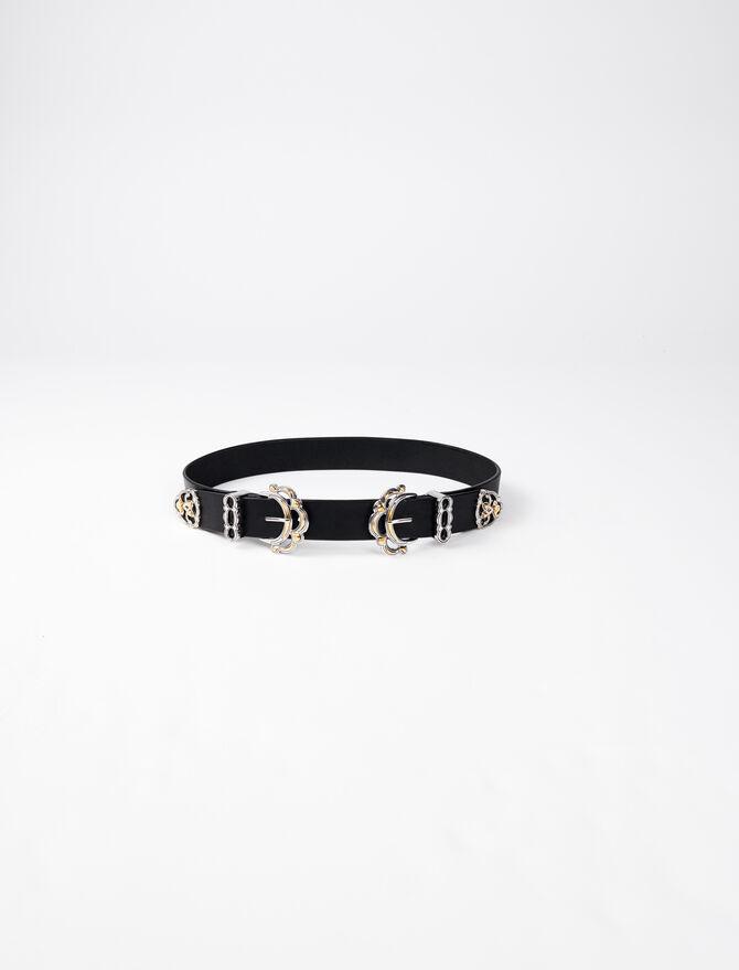 Cinturón de cuero con hebilla doble - Cinturones - MAJE