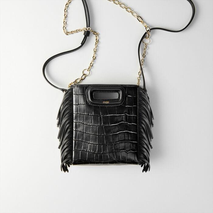 Bolso M Mini cuero en relieve con cadena : M Mini color Negro