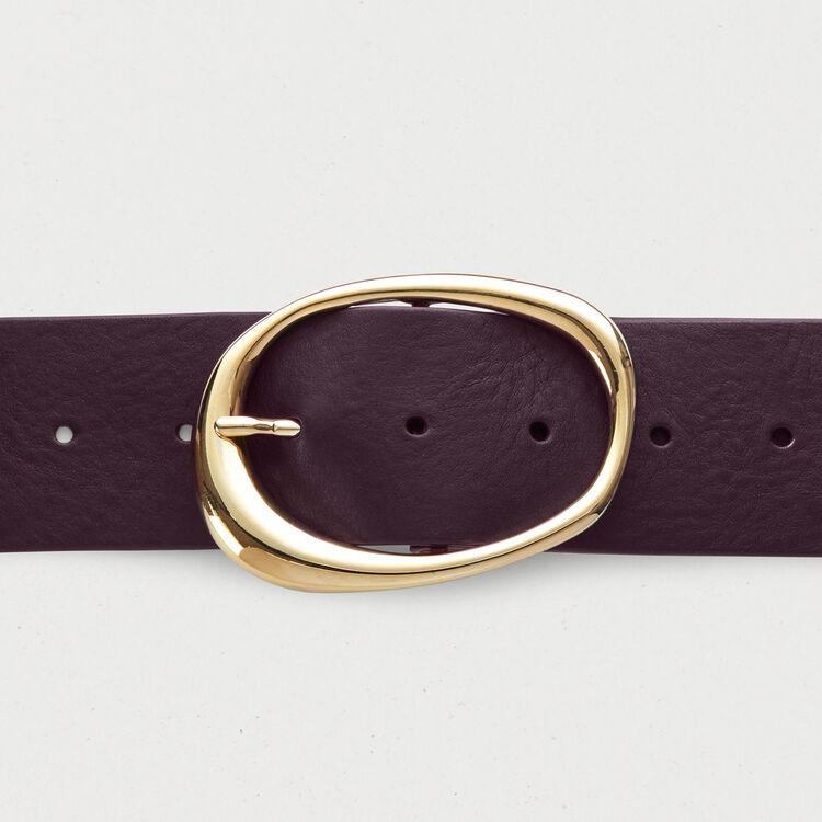Ancho cinturón de cuero : Burdeos color Burdeos