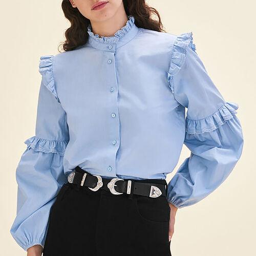 Camisa de popelina con volantes : Tops color Azul
