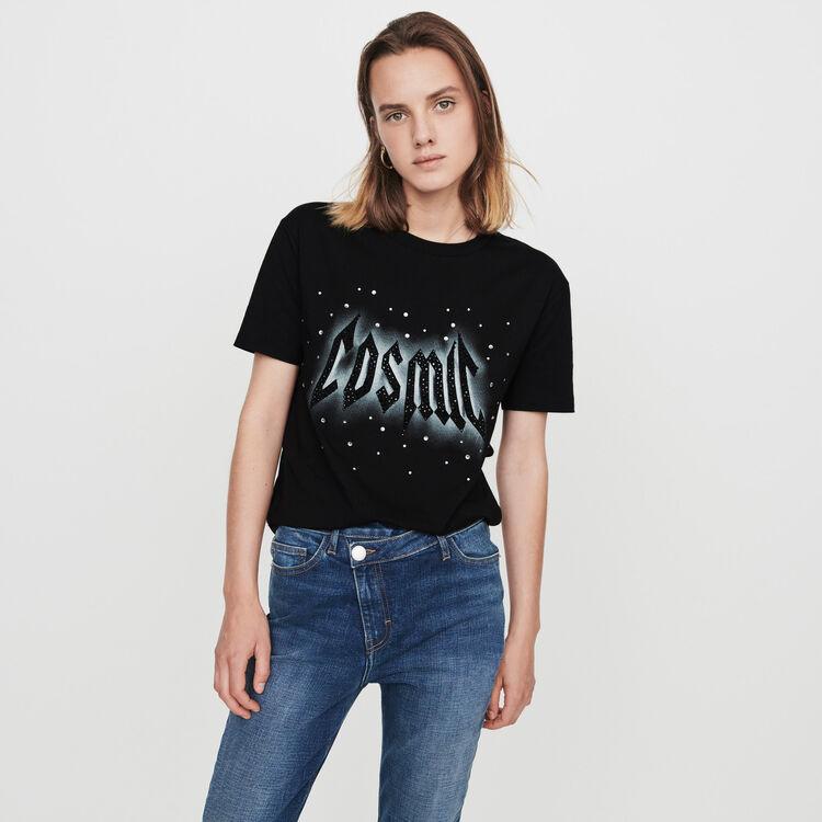 Camiseta decorada con strass : T-Shirts color Negro