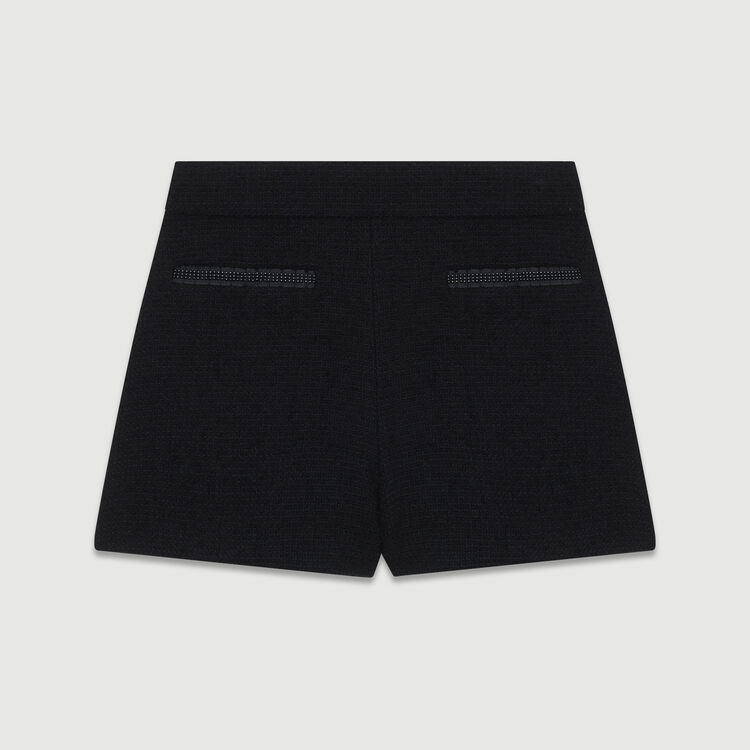 Short tiro alto de tweed con detalles : Faldas y shorts color Negro