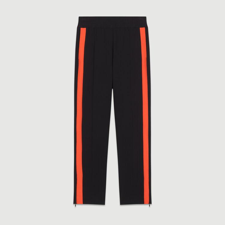 Pantalón recto con tiras a contraste : Pantalones color Negro