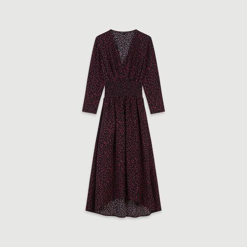 Vestido fruncido de crepé estampado : Vestidos color Negro