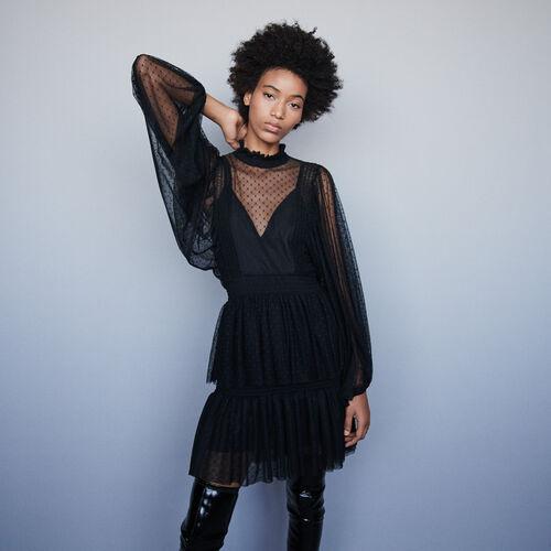 Vestido avolantado en tul plumetis : Vestidos color Negro
