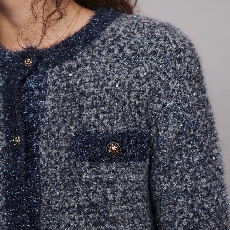 Cárdigan de punto fantasía lurex : Jerseys y cárdigans color Azul