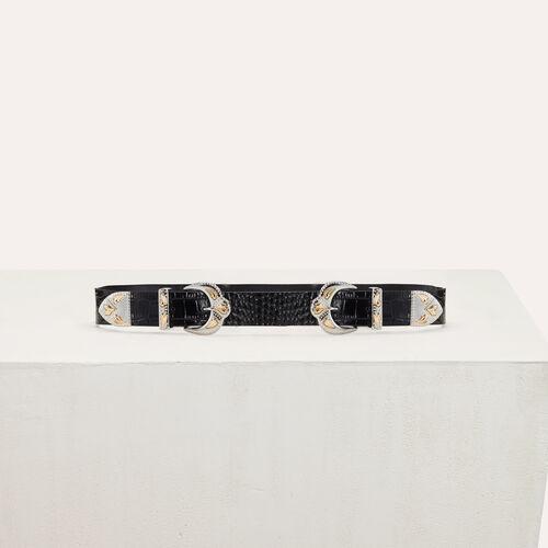 Cinturón doble hebilla de cocodrilo : Cinturones color Negro