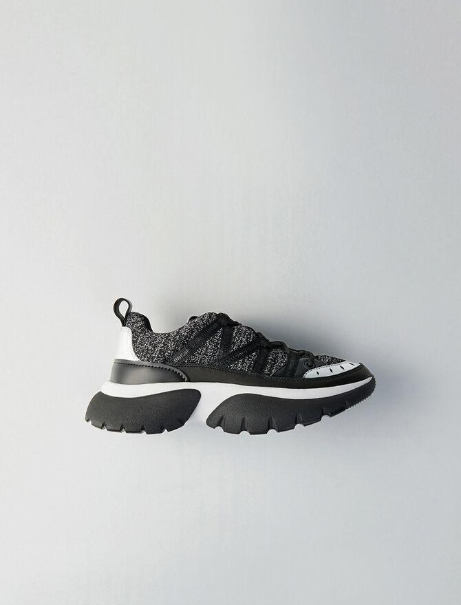 Sneakers W20 urbanos de cuero y Lurex - Sneakers - MAJE