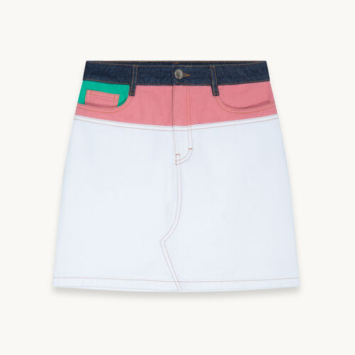 Falda corta de denim multicolor - null - MAJE