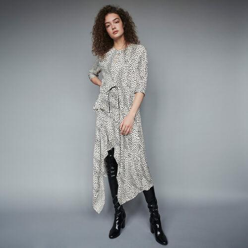 Vestido estampado asimétrico en Jacquard : Colección invierno color Blanco