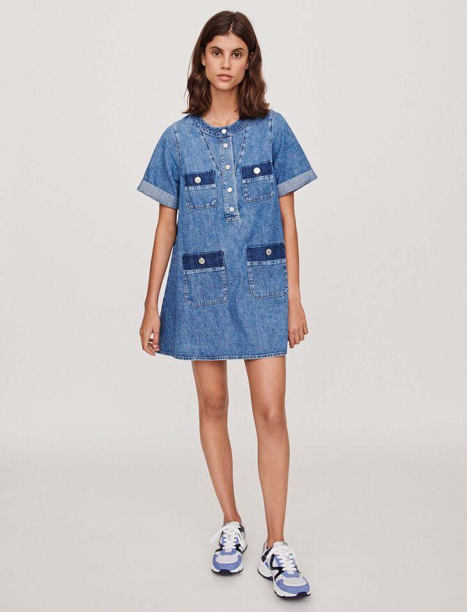 Vestido corto denim con mangas cortas - Vestidos - MAJE