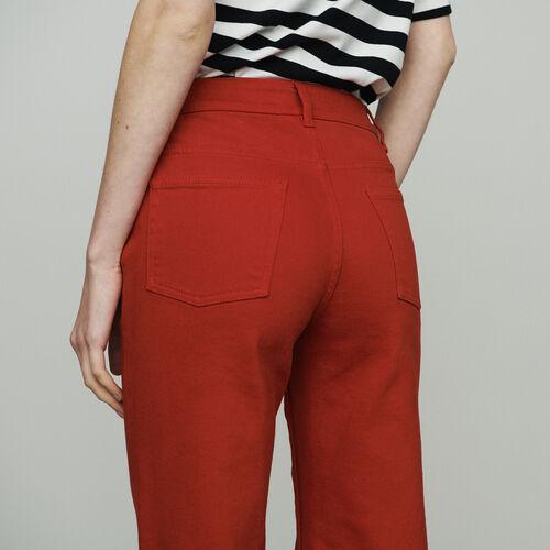 Jean ancho tiro alto : Jeans color Rojo