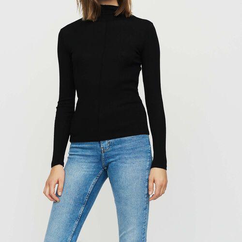 Camiseta en jersey de lana : Malla color NEGRO