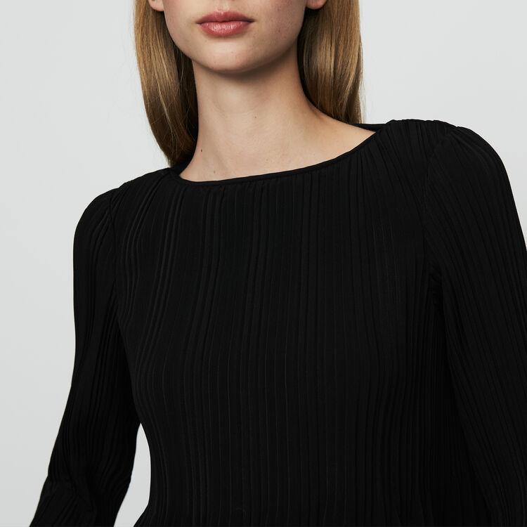 Top con plisado : Tops color Negro