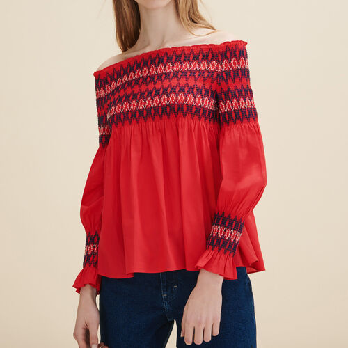 Blusa con fruncidos : Tops color Rojo