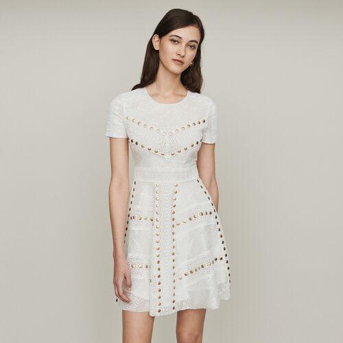 Vestido de encaje con tachuelas : Vestidos color Blanco