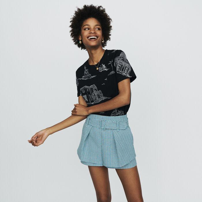 Short en tejido tipo tweed : Faldas y shorts color Azul