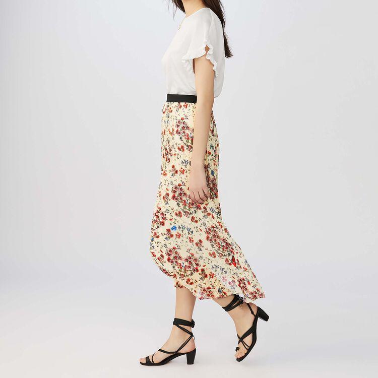 Falda larga plisada con estampado : Faldas y shorts color IMPRIME