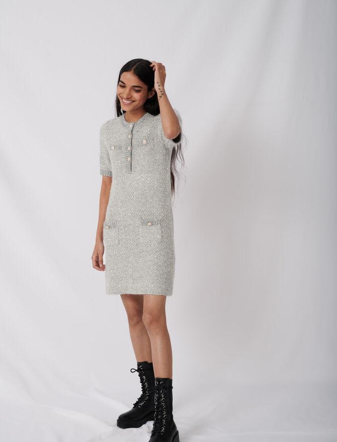 Vestido de lúrex con botones fantasía - Vestidos - MAJE