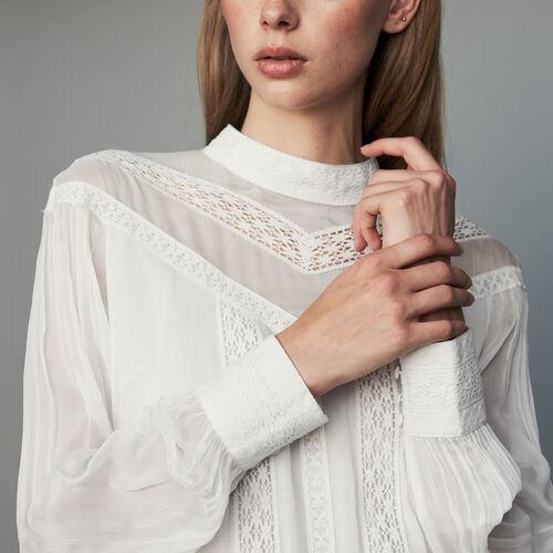 Blusa de gasa con bordados : Ver todo color Blanco