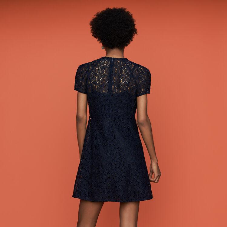 Vestido recto de encaje : Vestidos color Azul Marino