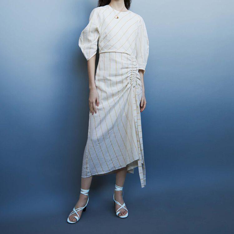 Vestido largo de lino rayado : Vestidos color Crudo