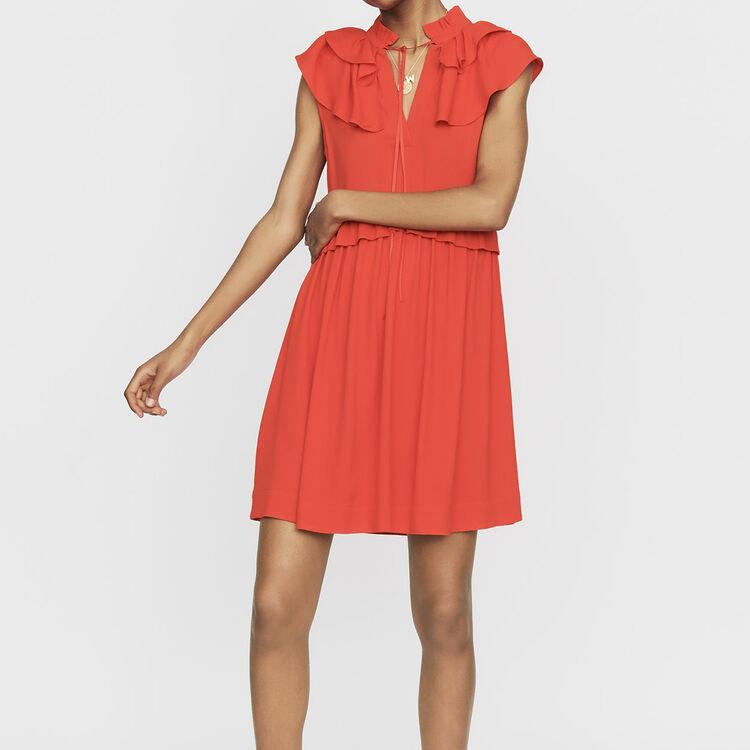 Vestido sin mangas de crepé : Prêt-à-porter color ROUGE