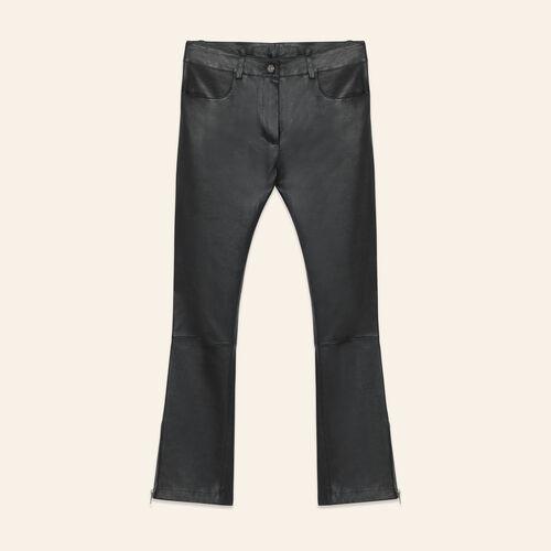Pantalón de piel con cremalleras : Pantalones y vaqueros color Negro