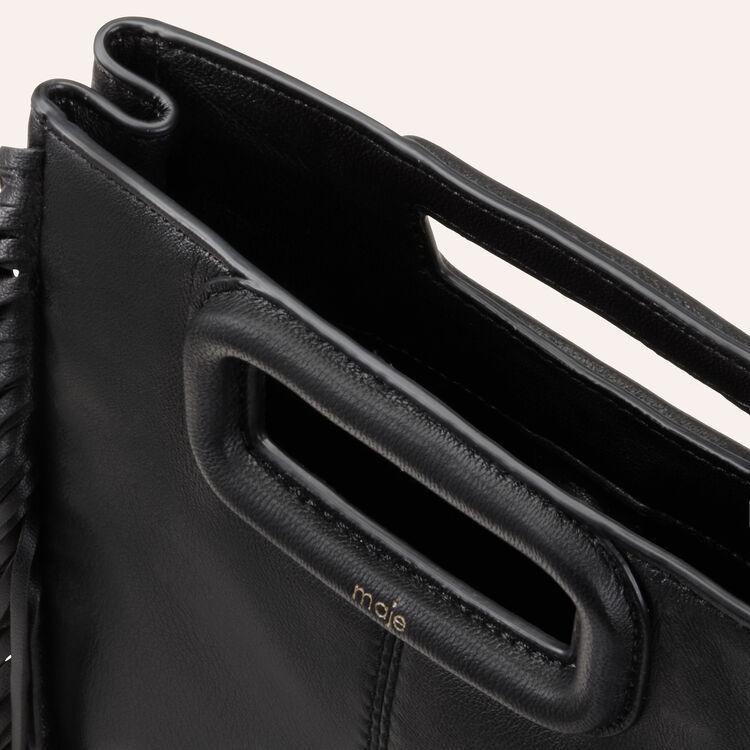 Bolso M de cuero con flecos : Bolsos M color Negro
