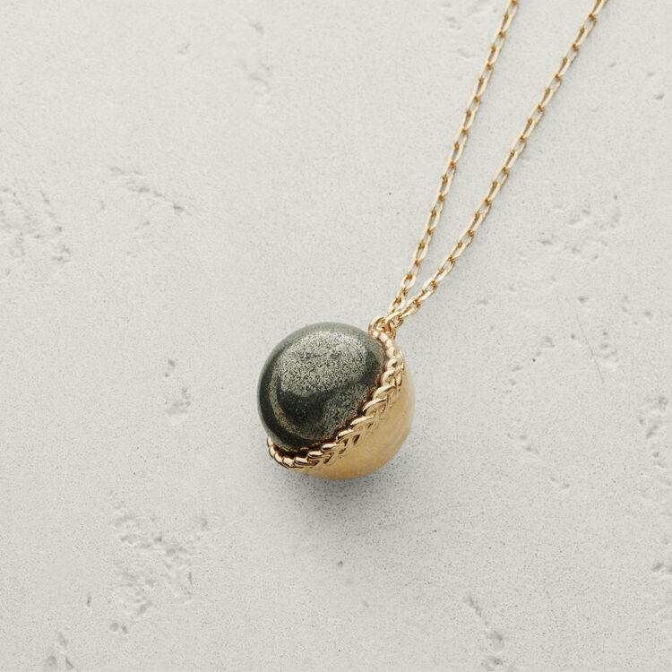 Collar con bola en piedra natural : Bisuteria color Plateado Viejo