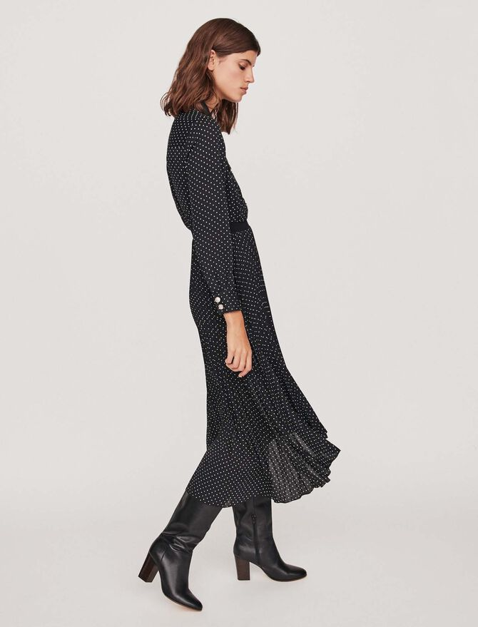 Long pleated dress with polka dots - Toda la colección - MAJE