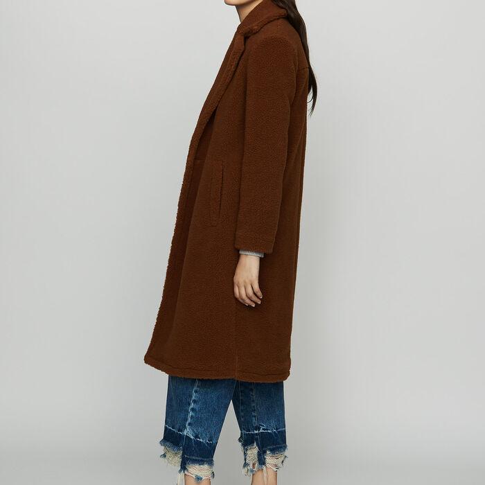 Abrigo largo de piel falsa : Abrigos color Marrón