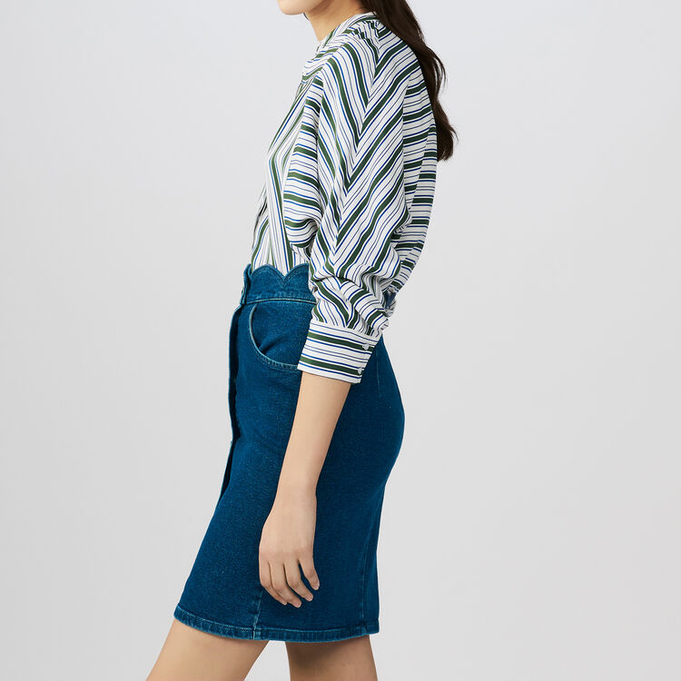 Denim shirt with fancy cutting : Faldas y shorts color Denim