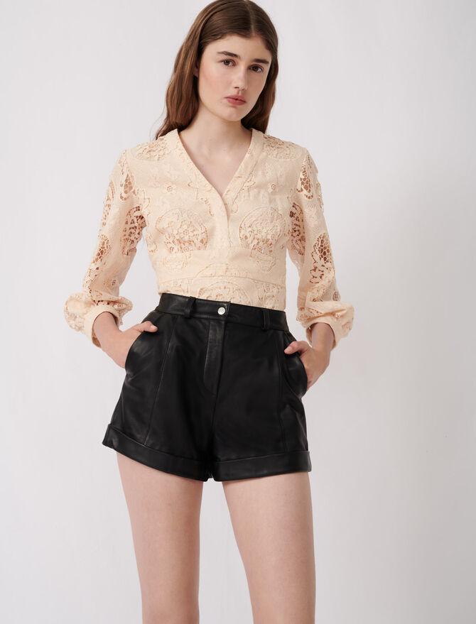 Short de cuero con vueltas y pespuntes - Faldas y shorts - MAJE