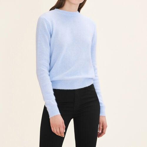 Jersey de angora con espalda descubierta : Malla color Azul Celeste