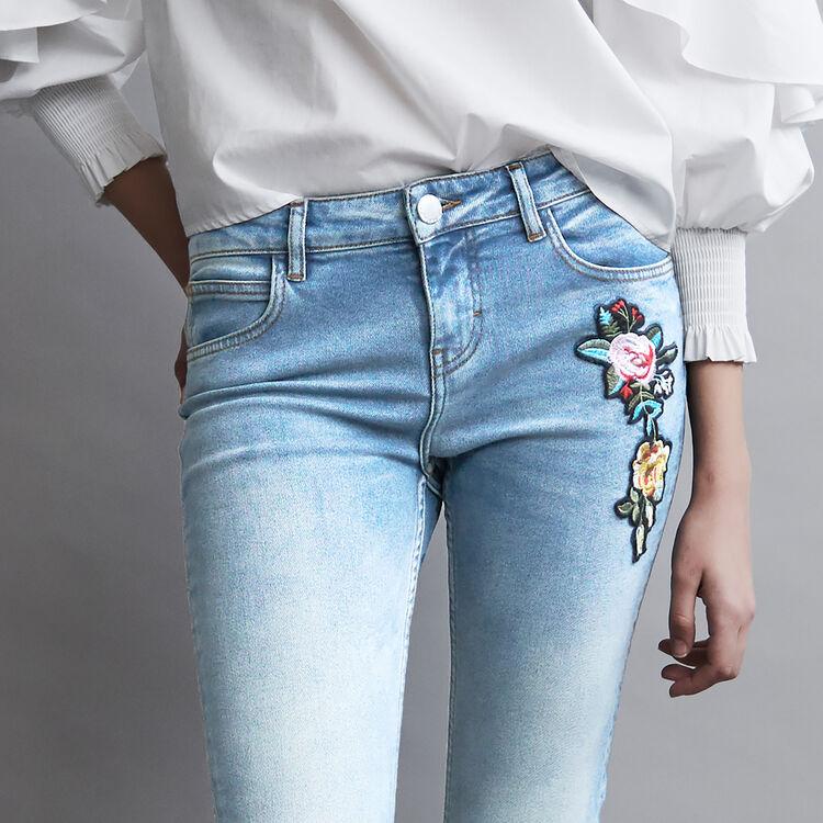 Baquero evase con bordados : Jeans color Denim