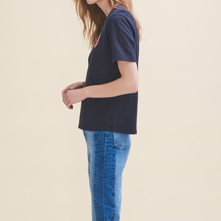 Camiseta bordada Martes : T-shirts color Azul Marino