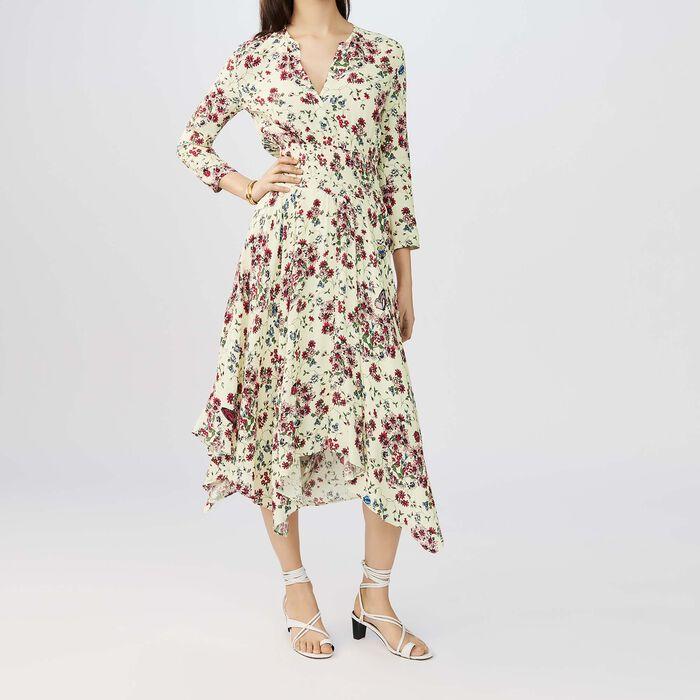 Vestido asimétrico estampado de crepe : Vestidos color IMPRIME