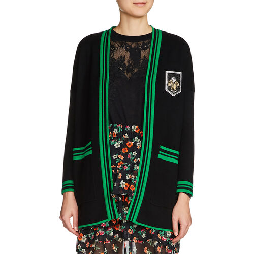 Chaqueta de punto de largo medio emblema : Jerseys y cárdigans color Negro