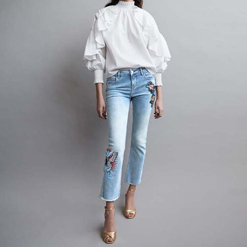 Baquero evase con bordados : Jeans color Denim
