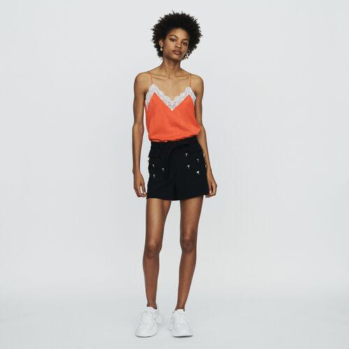 Short de crepé con joyas palmera : Faldas y shorts color Negro
