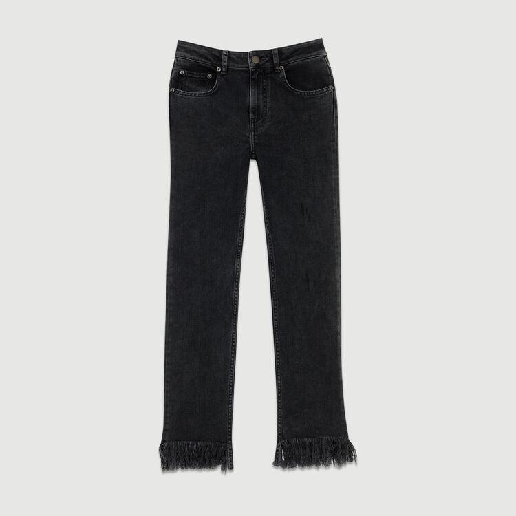 Jean ancho con flecos : Prêt-à-porter color Negro