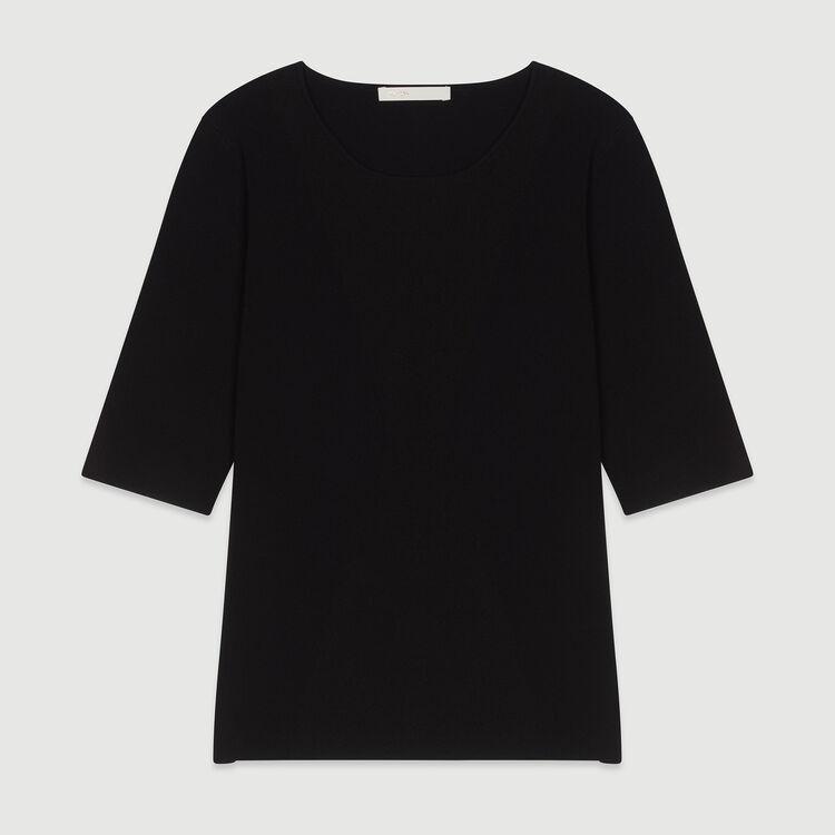 Suéter de mangas cortas de punto : Jerseys y cárdigans color NEGRO