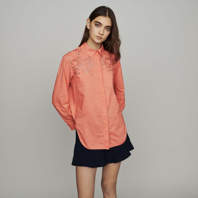 Blusa con guipur : Tops y Camisas color Coral