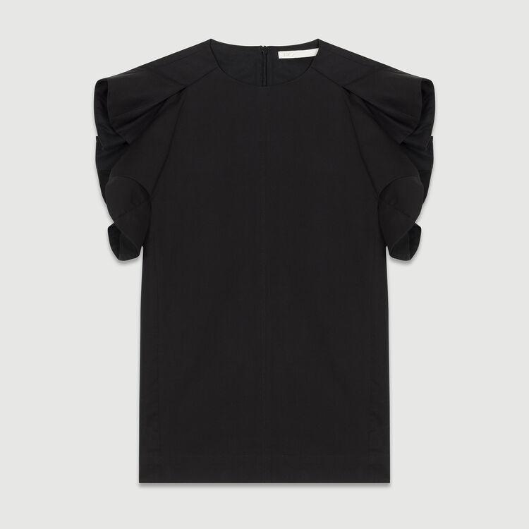 Top de lona de algodón con tirantes : Tops color Negro