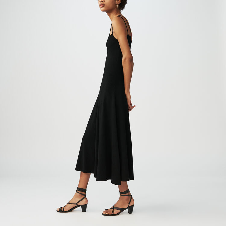 Vestido largo de punto : Vestidos color Negro