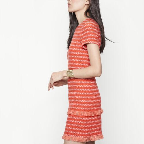 Vestido corto de jacquard con fruncidos : Vestidos color Baldosa