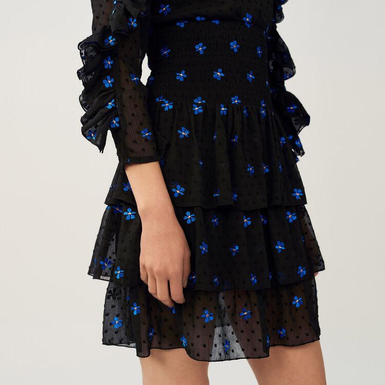 Vestido en moselina bordado : Vestidos color Negro