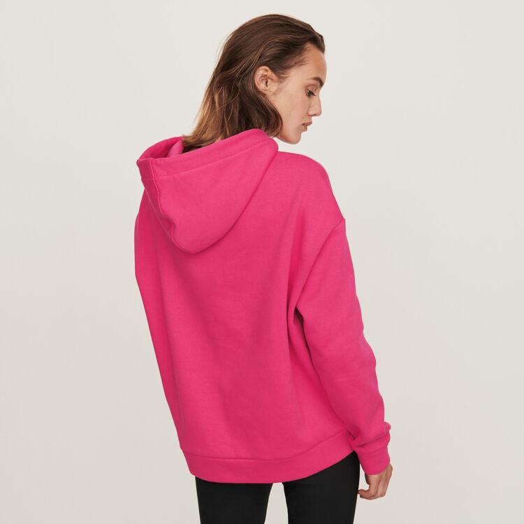 Sudadera bordada con capucha : Jerseys y cárdigans color Fucsia