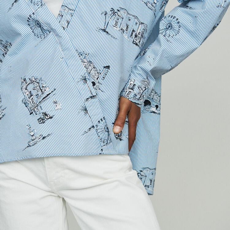 Blusa de rayas estampado Paris : Tops y Camisas color Azul